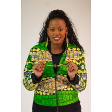 African Clothing - Ankara Print - Bomber Jacket - Green