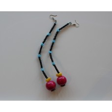 Beaded Earrings - Blue/Burgundy