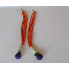 Beaded Earrings - Orange/Purple