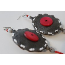 Beaded/ Leather Earrings - Red/White
