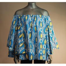 Bare Shoulder Flared Crop Top - Blue/Yellow