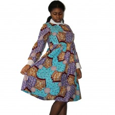 Long Sleeved Ankara Dress