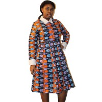 African Print Dress for women - Orange, Blue Anakara Fabric