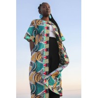 Ankara print flowing jacket - Brown African print - African clothing for women