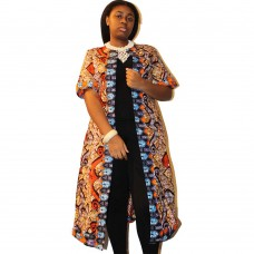 African clothing Ankara fabric pattern jacket - Brown