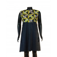 Denim Ankara Dress - Yellow